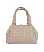 Chanel Pink Canvas Travel Line CC Leather Handles Satchel Bag Handbag - $683.10
