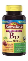 Nature Made Sublingual Vitamin B12 1000 mcg. Cherry Flavored Lozenges 50 Ct - $16.98