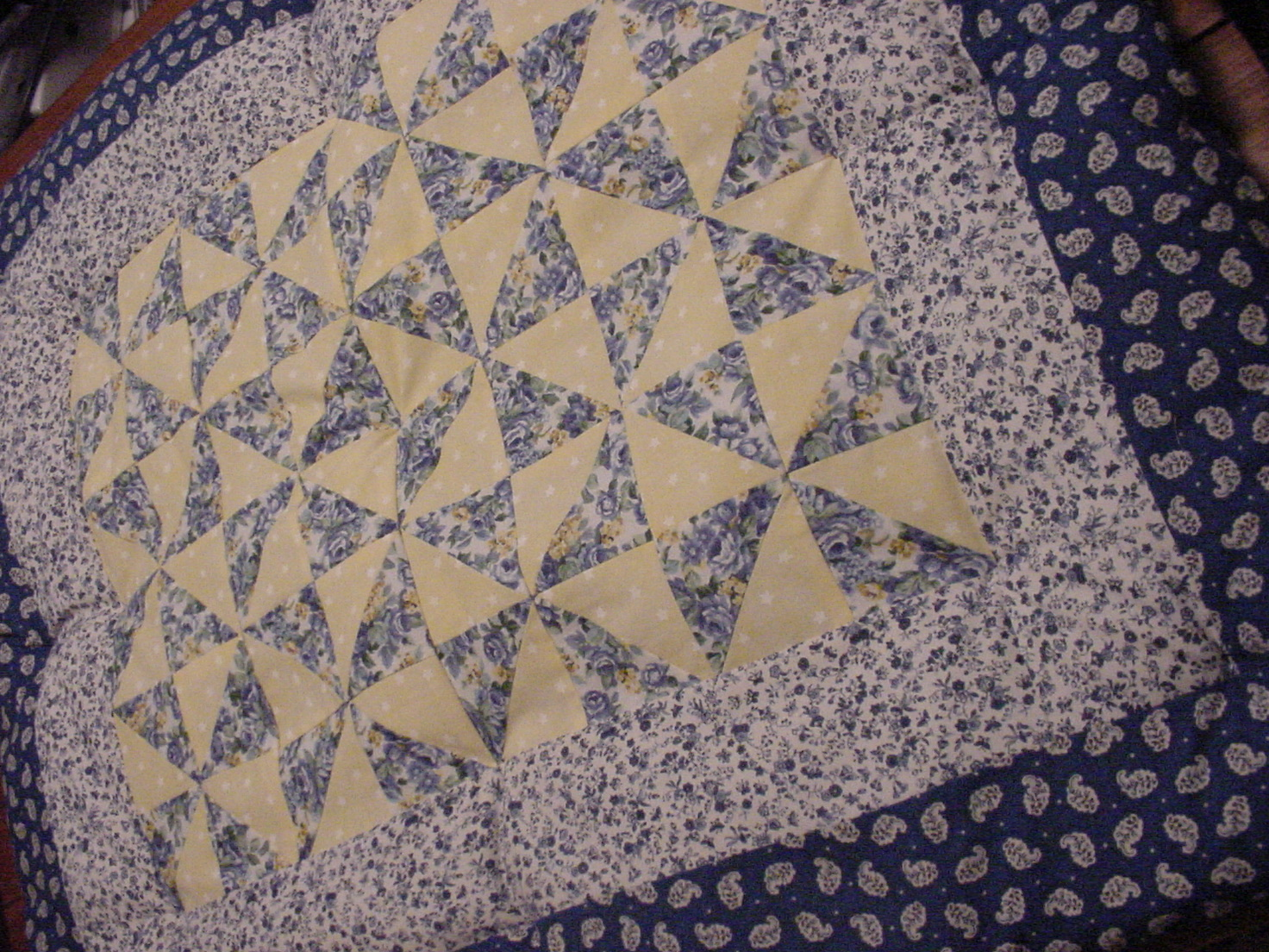 PersonallyByPat Custom Country French Blue Yellow Quilted Baby Comforter