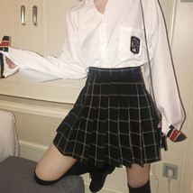 Plus Size Black Plaid Skirt Outfit High Waisted Full Pleated Black Plaid Skirt  image 3
