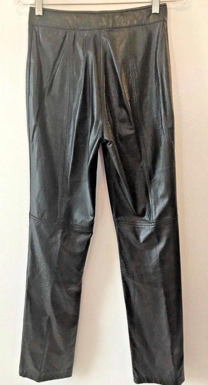 Wilsons Black Genuine Leather Womens High Waist Pants size XS 25.5x31.5 P10