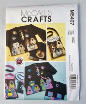McCall's Crafts M 5407 Dog Appliques and Totes Pattern Uncut 2007 - $9.89