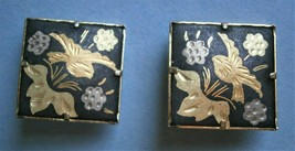 Pair of Damascene Clip-On Earrings decorated with flowers and birds - $15.00
