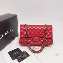 AUTHENTIC Chanel RED Quilted LAMBSKIN MEDIUM DOUBLE FLAP BAG SILVERTONE HW image 5