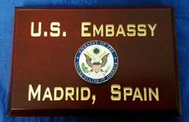 "DOS US Embassy Madrid Spain Cherry Wood 4""X6""X.75"" Desk Plaque MADE IN USA - $37.12"