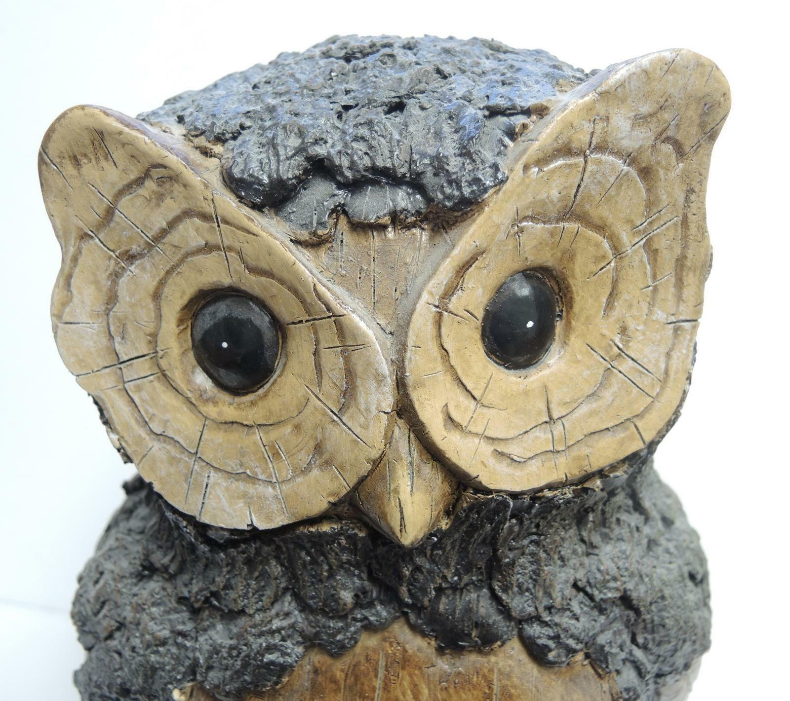 "Large 10"" Tall Resin Wood Design Funky Owl"