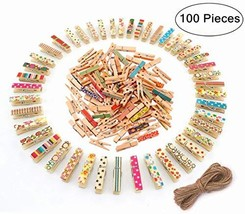 Mini Wooden Clips, Magnolian 100Pcs Colored Natural Mini Wooden Photo Pa... - $11.68