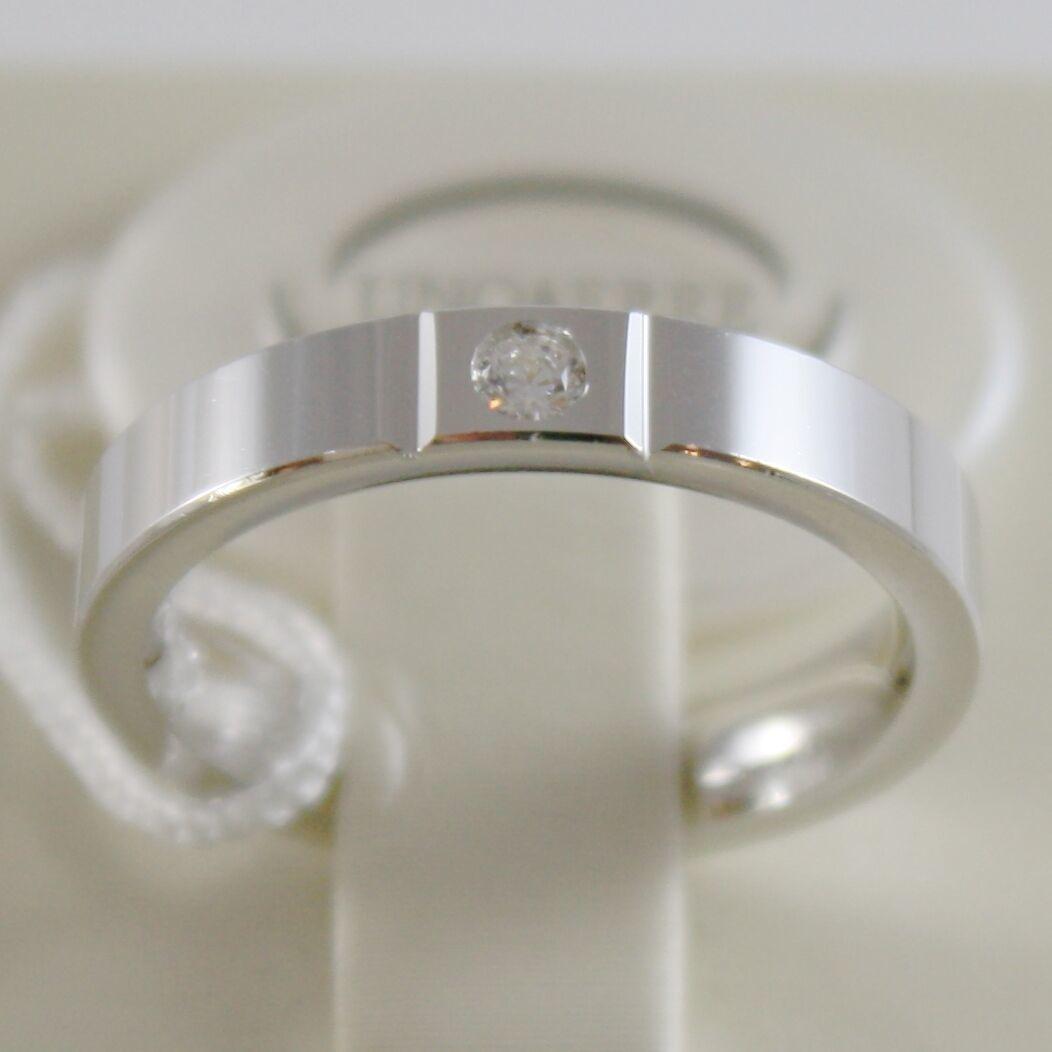 18K WHITE GOLD WEDDING BAND UNOAERRE SQUARE COMFORT RING, DIAMOND MADE IN ITALY