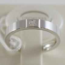 18K WHITE GOLD WEDDING BAND UNOAERRE SQUARE COMFORT RING, DIAMOND MADE IN ITALY image 1