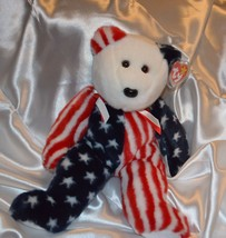 "Ty Beanie Buddy Spangle Teddy 15"" Bear USA American Flag 4th of July Dec... - $22.28"