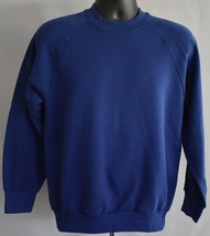 80s Blank Blue Raglan Sweatshirt Size Small to Medium Fruit of the Loom - $22.99