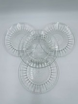 "4 Clear Glass Salad Plate CRISTAL D'ARQUES Diamant 7-1/2"" Set Starburst ... - $24.70"