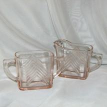 Hazel Atlas Pink Depression Glass Cream & Sugar Bowl Set Chevron Vintage Creamer - $36.95