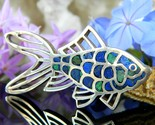 Vintage fish goldfish koi brooch pin mexico 950 sterling silver lapis thumb155 crop