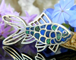 Vintage Fish Goldfish Koi Brooch Pin Mexico 950 Sterling Silver Lapis  - $72.95