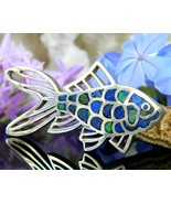 Vintage Fish Goldfish Koi Brooch Pin Mexico 950 Sterling Silver Lapis  - £55.79 GBP