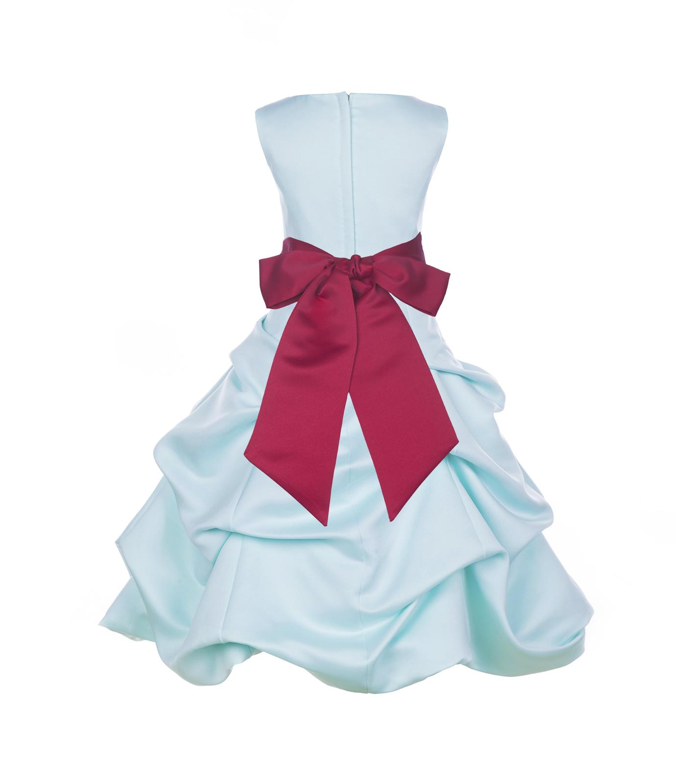 Bubble Satin Mint Flower Girl Dress Easter Pageant Wedding Bridal Recital 806s