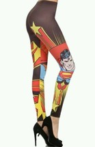 Women's DC Comics Marvel Superman Sublimation Graphic Cartoon Print Legg... - $18.55