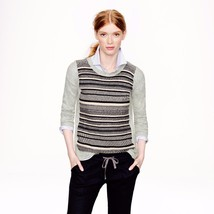 J Crew Textured Stripe Wool Angora Rabbit Hair Sweater Grey Black S - $37.99