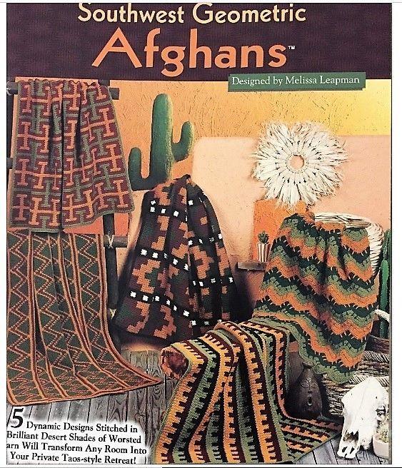 Needlecraft Shop 991035 Southwest Geometric Afghans Crochet 5 Designs 1999 NEW