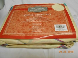 New Best Home Collection queen sheet set fitted flat & 2 pillowcases Fl... - $10.88