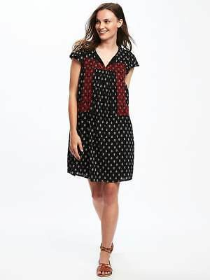 Primary image for Old Navy Women Dress XS Shift Black Leaf Print Red Lace Flutter Sleeve Cotton