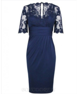 Sheath V-Neck Short Sleeves Dark Blue Mother of The Bride Dress with Lace - £94.25 GBP+