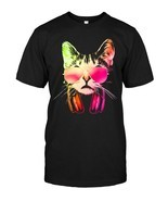 Neon DJ Cat With Sunglasses And Headphones T Shirt - $17.99+