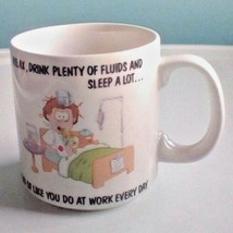 Russ Berrie Coffee Cup Mug Relax Drink Lots of fluids And Sleep A Lot... - $7.92