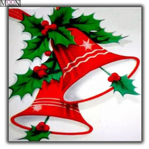 Diamond Painting Kit, Red Christmas Bells, full square, 35x35cm, XMAS, US - $23.99