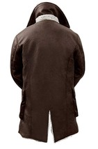 Bane Dark Knight Rises Antique Tom Hardy Brown Synthetic Fur Leather Coat image 2