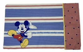 Mickey Mouse Single Pillow Case Standard Dbl Sided Vintage Look Red Whit... - $7.84