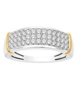 1.20CT Redondo Corte Diamante 14K Dos Tonos Oro Acabado 3 Fila Anillo de... - $111.84