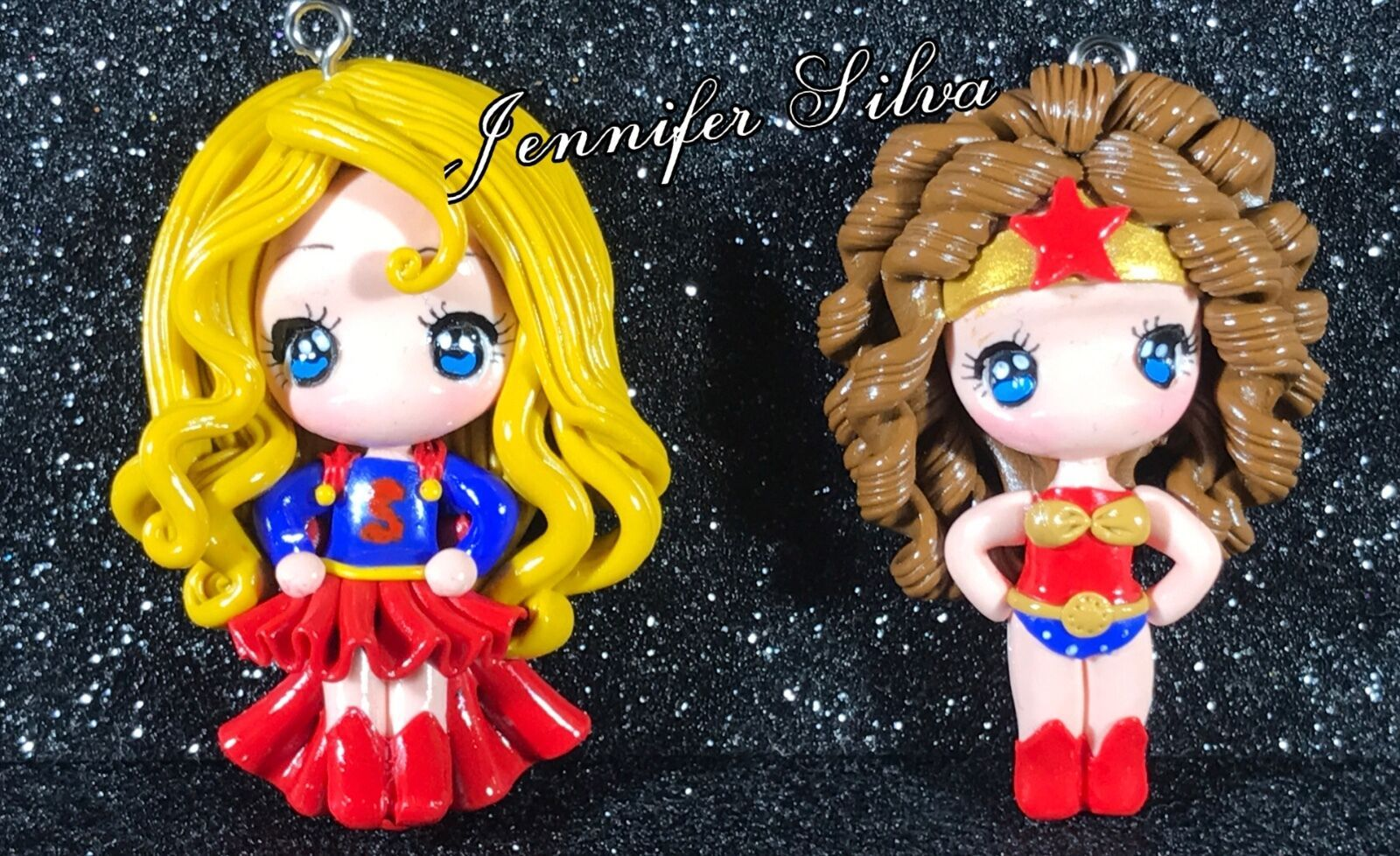Super Girl and Wonder Woman Clay Charm