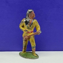 Cast iron cowboy indian lead toy soldier native american western figure ... - $24.70