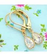 Gold Filled 14k Earrings Cubic Zirconia Designer Warranty Dangle New Lad... - $32.71