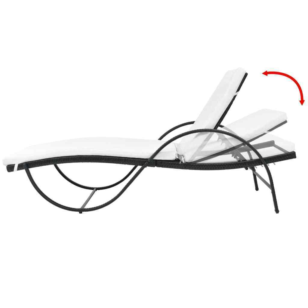 vidaXL Sunlounger w/ Table Poly Rattan Wicker Patio Sun Day Bed Lounge 2 Colors image 12