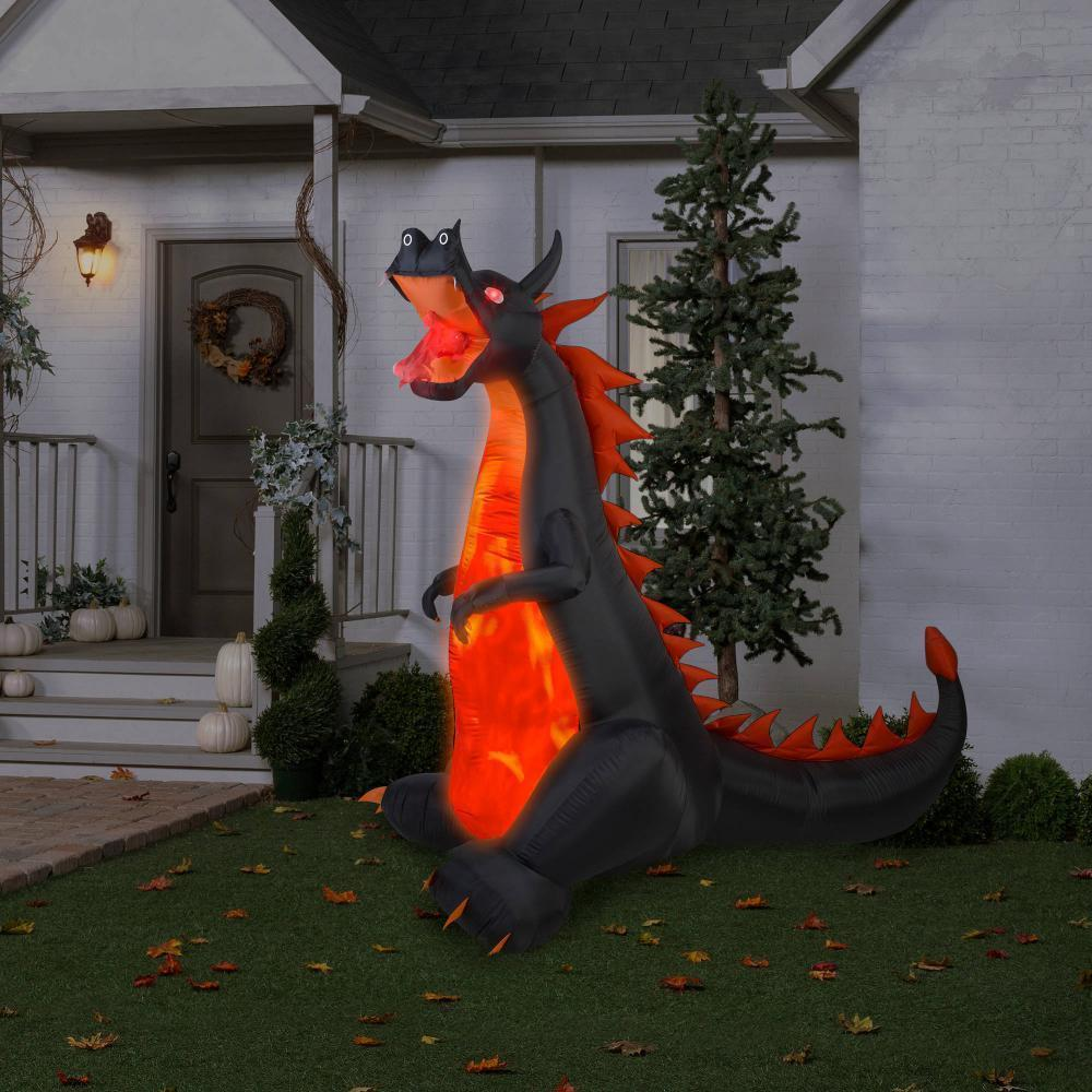 Airblown Fire And Inflatable Ice Dragon Prop Hunted House Decoration Halloween