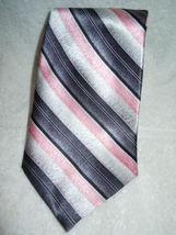 Pierre Cardin Black Pink & Silver Striped Silk Tie - $5.99