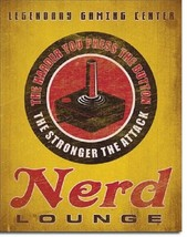Nerd Lounge Video Gaming Game Funny Humor Retro Wall Decor Metal Tin Sign - $15.99