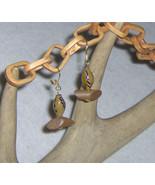 American Made!  Wood & Large Earth Tone Bead Pierced Earrings, Dark Wood  - $14.95