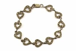 Vintage Heart Marcasite Design Link Bracelet 925 Sterling BR 3064 - $70.97