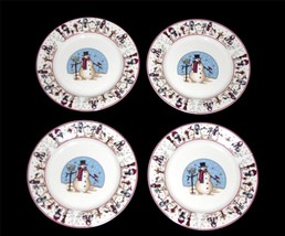 4 Meiwa Snowman Serenade 1997 Salad Plates Bright Clear Graphics New Disc! - $24.99