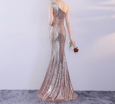 ROSE GOLD One Shoulder Sequin Dress Women Plus Size Mermaid Maxi Sequin Dresses