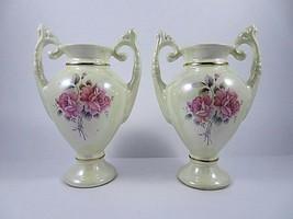 Pair Matching Vintage Lusterware Vases W Handles Pink Rose Pattern Gold ... - $46.81