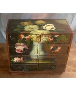 Decorative 8 Drawer Wood Box Hand Painted Floral Design Ring Pulls Plint... - $118.66