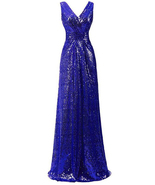 Stunning Royal Blue  Long Bridesmaid Dress A Line Women Party Gowns Lace... - $85.00