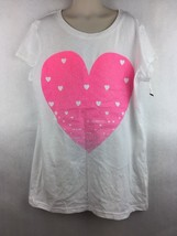 Girl's Circo Pink Valentine Heart Graphic T-Shirt Size XL 14 / 16 - $14.84