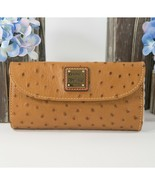 Dooney and Bourke Tan Ostrich Leather Trifold Wallet NWT - $100.56