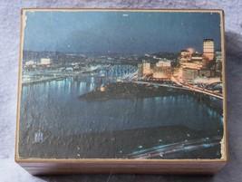 Vintage Wood Music Box Photo of Pittsburgh mv - $16.82